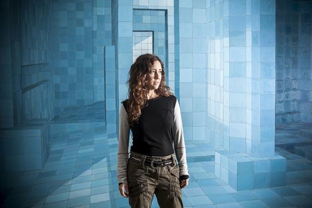 Adriana Varejão e uma de suas obras